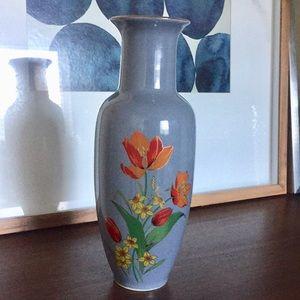 VINTAGE Japanese Blue Gold Floral Stem Vase ,Actio